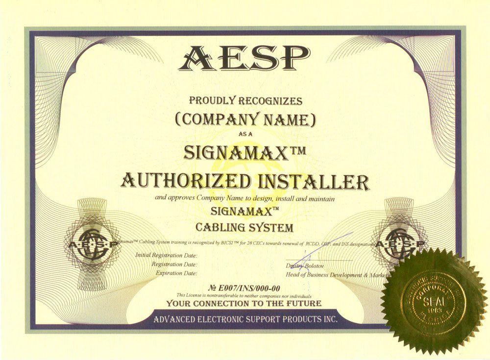 Certificate of Authorized Installer